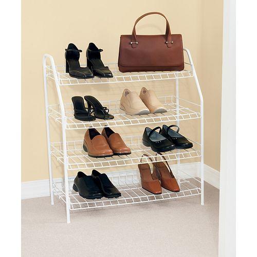 27.9-inch H x 25.75-inch W x 11.6-inch D Shoe Shelf with 4 Tiers