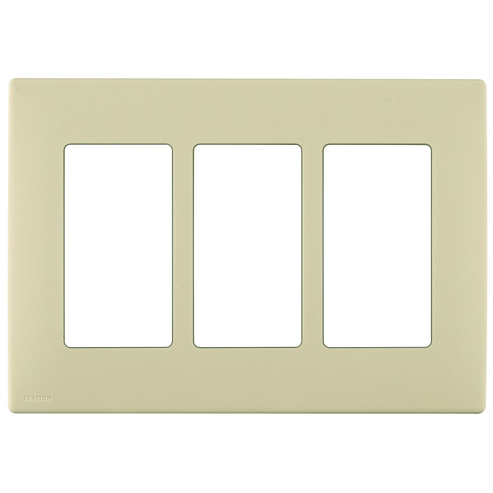Leviton Renu 3-Gang Screwless Wallplate in Whispering Wheat
