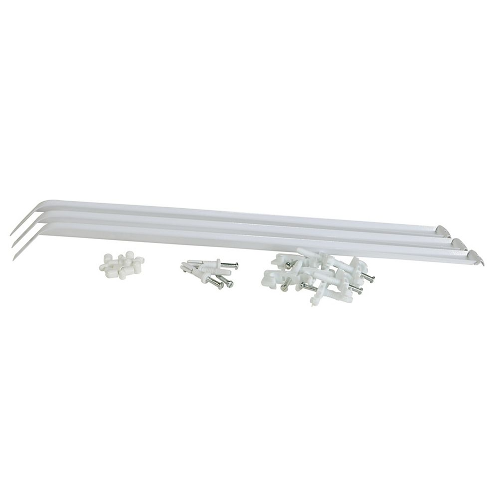 Rubbermaid 12-inch Closet Organizer Shelf Support Brace in White with Installation Hardware