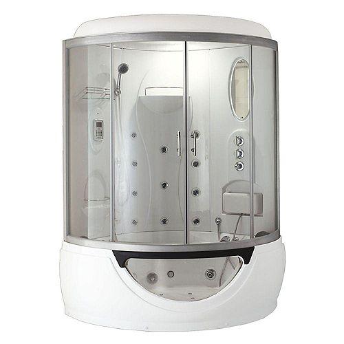 Modern Steam & Shower Corner Enclosure with Whirlpool Bathtub, Multi Body Message Water Jets, Radio & Aromatherapy