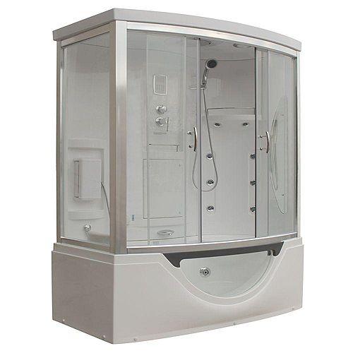 À vapeur moderne et cabine de douche avec une baignoire à remous, multi corps du message jets d'eau, de la radio et aromathérapie
