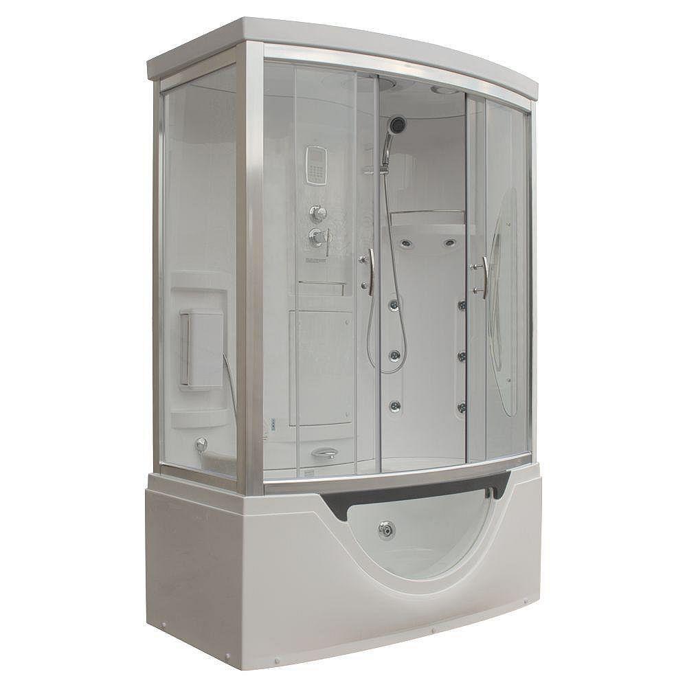 Steam Planet Modern Steam & Shower Enclosure with Whirlpool Bathtub, Multi Body Message Water Jets, Radio & Aromatherapy