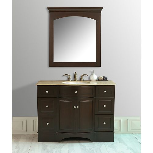 Lotus 48-inch W Vanity with Travertine Marble Top and Mirror