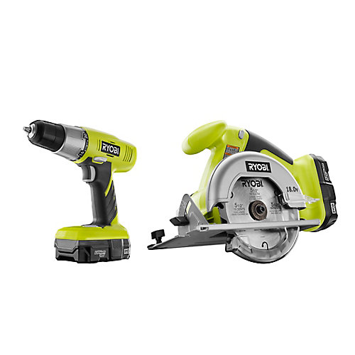 18V ONE+ Lithium-Ion Cordless Drill/Driver & Circular Saw Kit with (2) Batteries