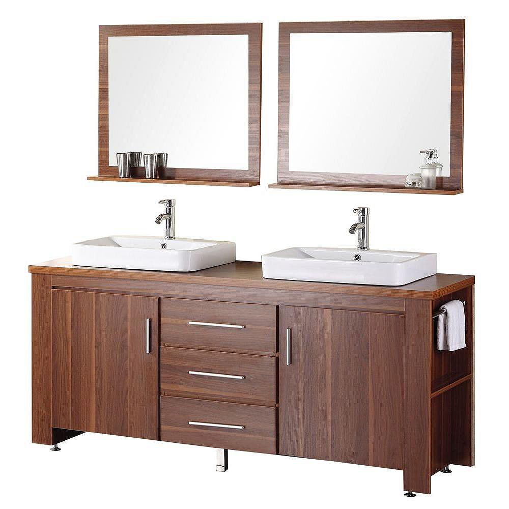 Design Element Washington 72-inch W x 22-inch D Vanity in Toffee with Wood Vanity Top and Mirror in Toffee