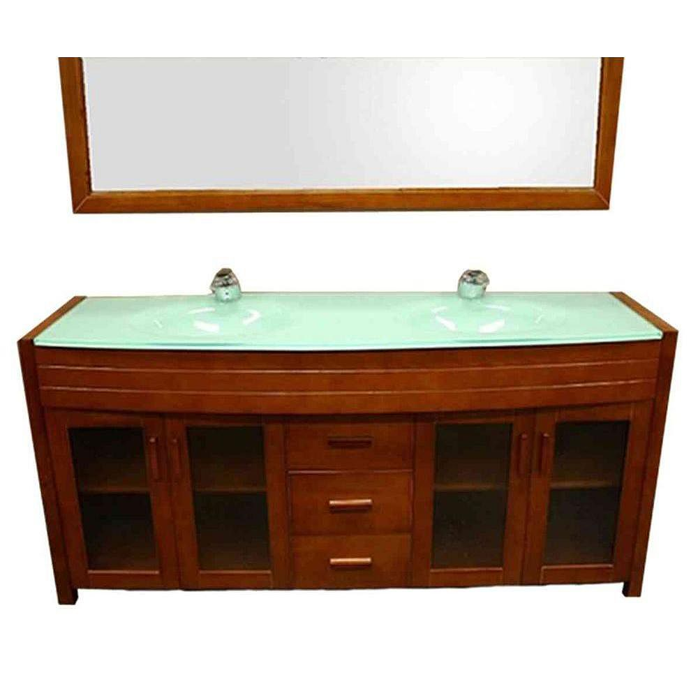 Design Element Waterfall 72-inch Vanity in Honey Oak with Glass Vanity Top and Mirror in Mint