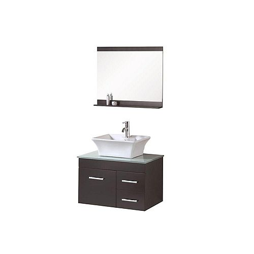 Madrid 30-inch W x 20-inch D Vanity in Espresso with Glass Vanity Top and Mirror in Mint