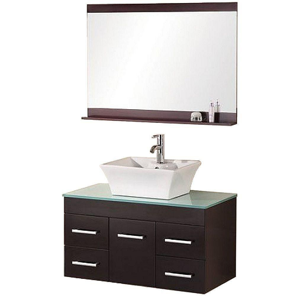 Design Element Madrid 36-inch W x 20-inch D Vanity in Espresso with Glass Vanity Top and Mirror in Mint