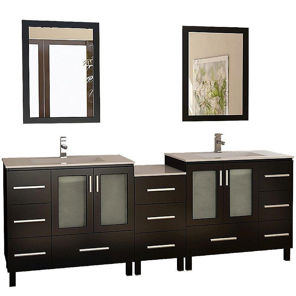 Design Element Galatian 88-inch Vanity in Espresso with Porcelain Vanity Top and Mirror in Espresso