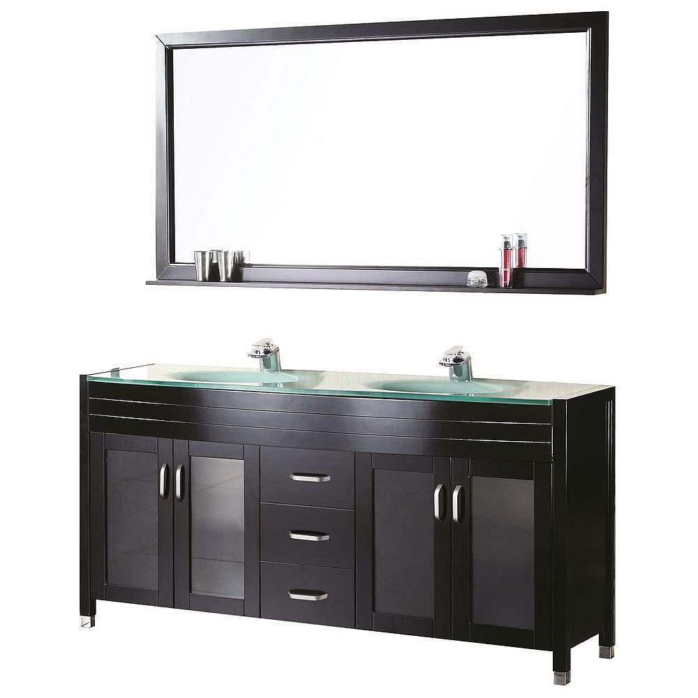 Design Element Waterfall 61-inch W x 22-inch D Vanity in Espresso with Glass Vanity Top and Mirror in Mint