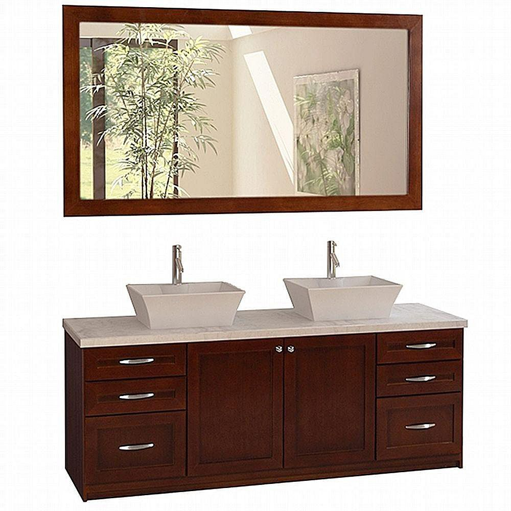 Design Element Madeline 72 Inches Vanity in Cherry Oak with Marble Vanity Top in Carrara White and Mirror (Faucet not included)