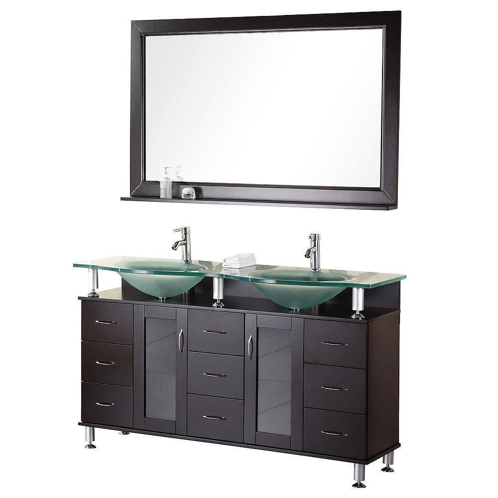 Design Element Redondo 61-inch W Vanity in Brown