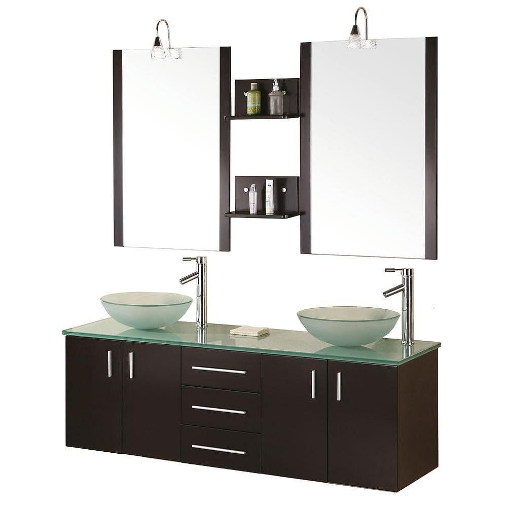 Design Element Modena 61-inch W x 20-inch D Vanity in Espresso with Glass Vanity Top and Mirror in Mint