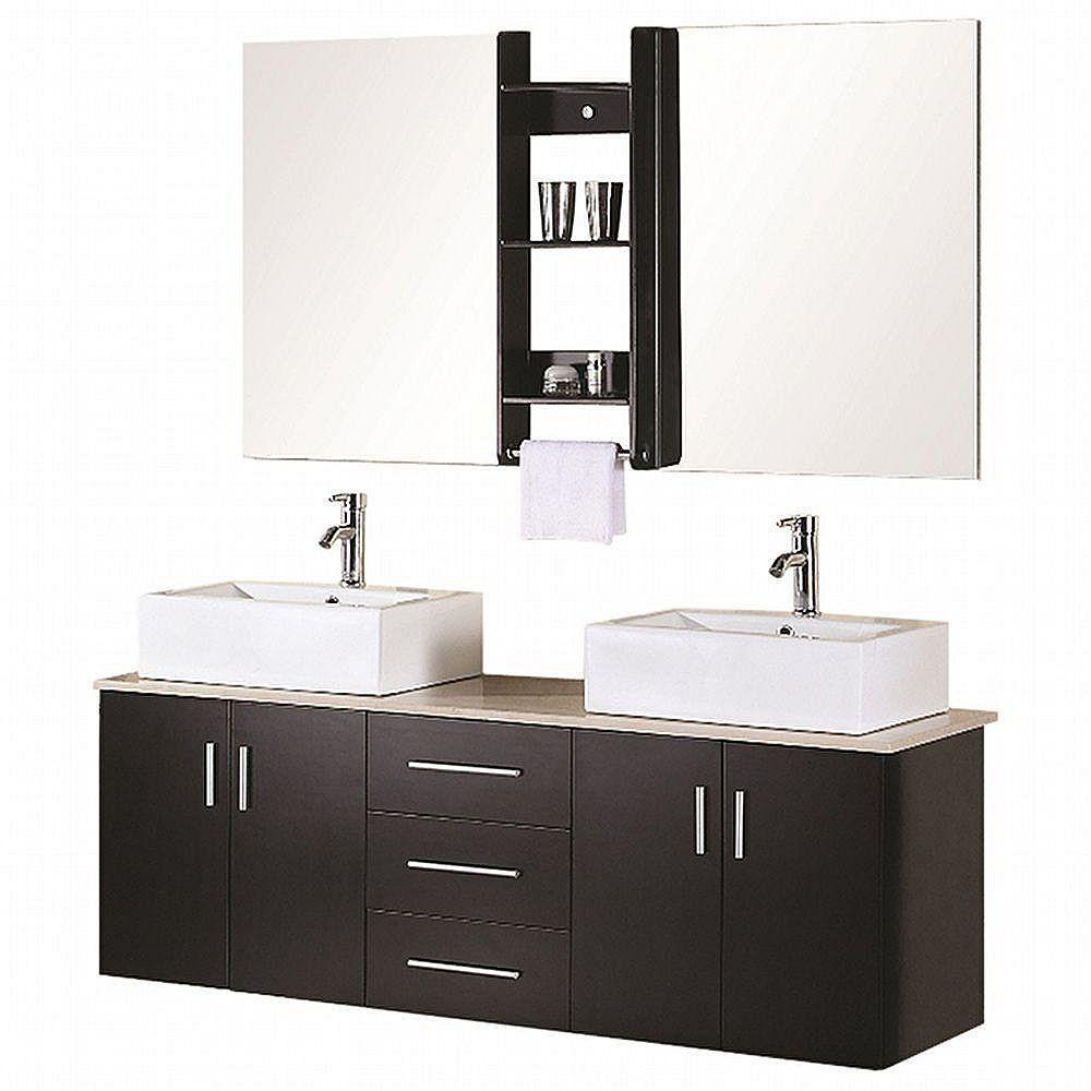 Design Element Ava 61-inch W x 20-inch D Vanity in Espresso with Quartz Vanity Top and Mirror in White