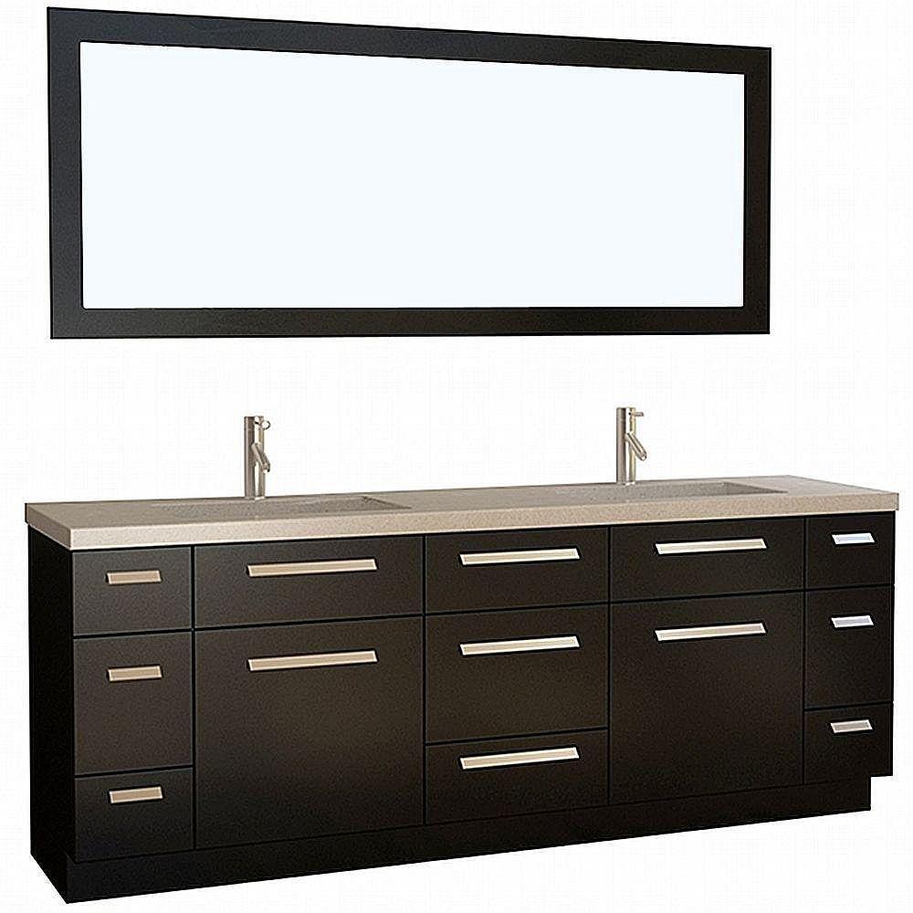 Design Element Moscony 84-inch W x 22-inch D Vanity in Espresso with Quartz Vanity Top and Mirror in Espresso