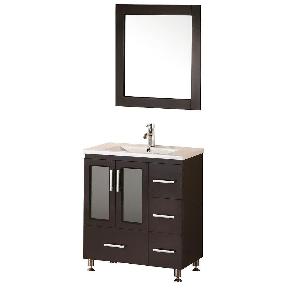 Design Element Stanton 32 Inch W X 18 Inch D Vanity In Espresso With Porcelain Vanity Top The Home Depot Canada