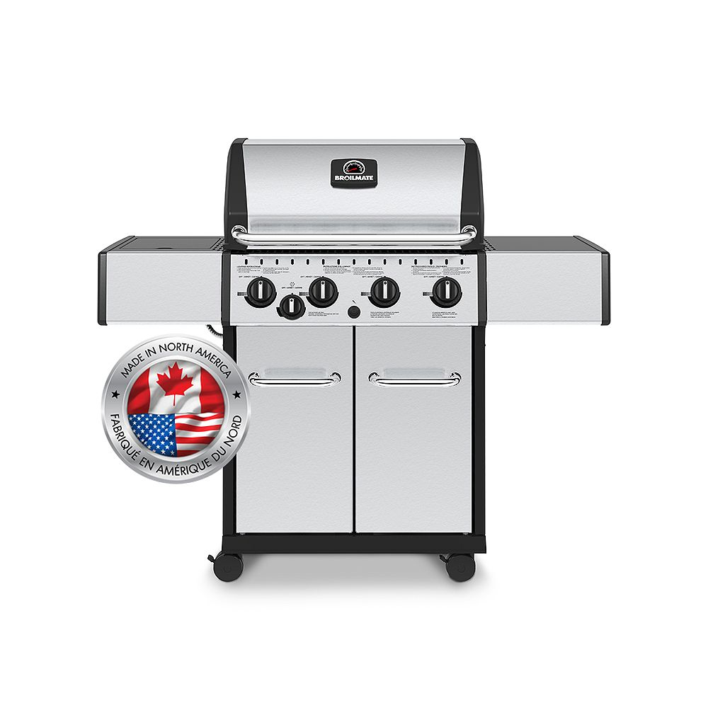 Broil-Mate 4 Burner 40,000 BTU Stainless Steel Natural Gas BBQ with Side Burner