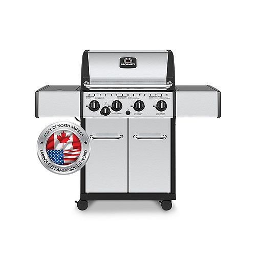 4 Burner 40,000 BTU Stainless Steel Natural Gas BBQ with Side Burner