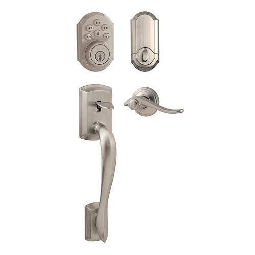 Weiser Avalon Satin Nickel Keyless Entry Handleset with SmartCode