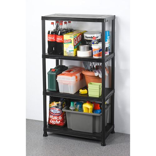 HDX 4-Shelf 15-inch D x 28-inch W x 52-inch H Black Plastic Storage Shelving Unit