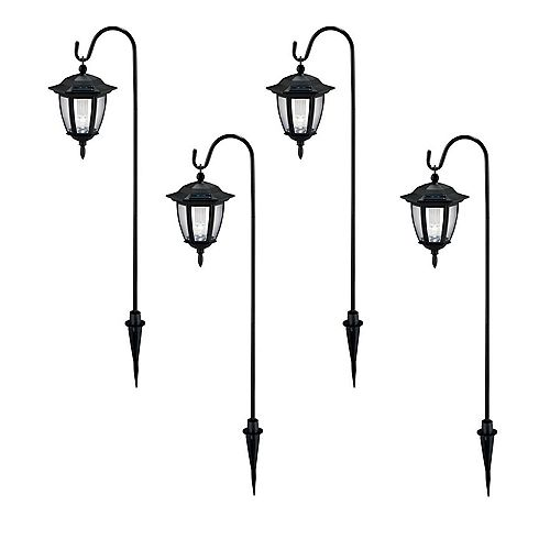 Solar Black Outdoor Integrated LED Shepard Hook Landscape Path Light with Clear Lens (4-Pack)