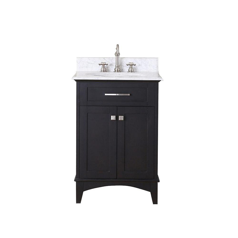Water Creation Manhattan 24-inch Vanity in Dark Espresso with Marble Vanity Top in Carrara White