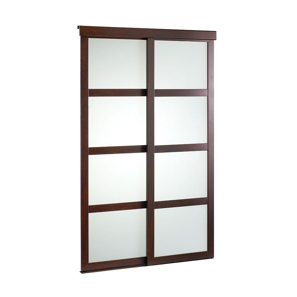 Veranda 48-inch Espresso Framed Frosted Sliding Door