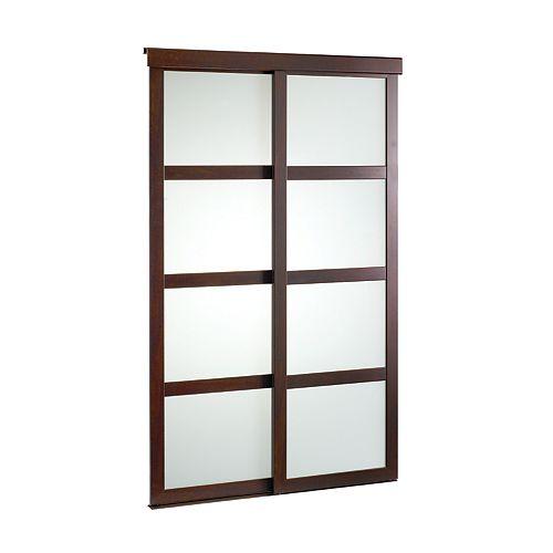 Porte verre givré 48 pouces encadrement de bois expresso, coulissante