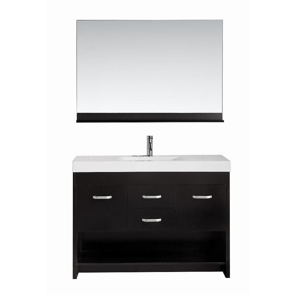 Design Element Citrus 48-inch W x 18-inch D Single Vanity in Espresso with Acrylic Vanity Top and Mirror in White