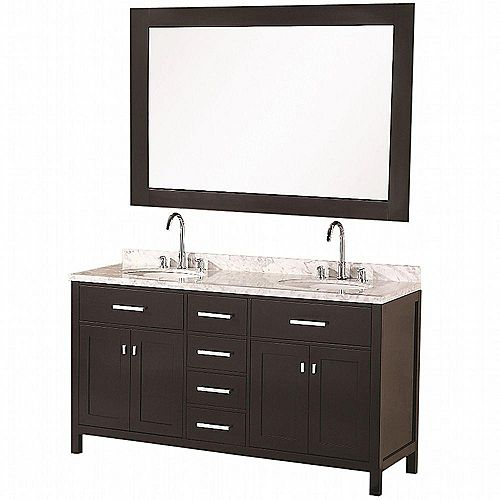 London 61-inch W x 22-inch D Vanity in Espresso with Marble Vanity Top and Mirror in Carrera White