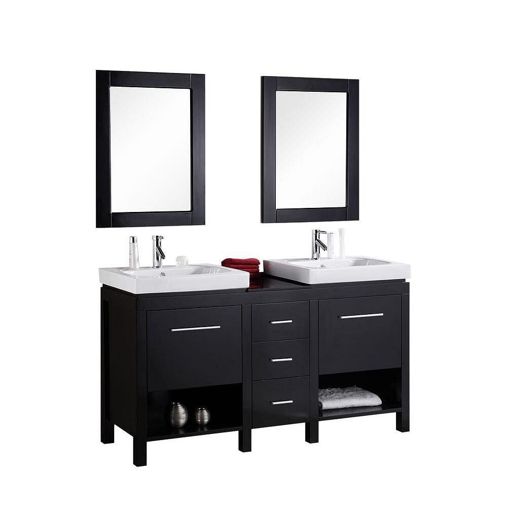 Design Element Meuble Double Vasque New York De 60 Po Robinet Non Inclus Home Depot Canada