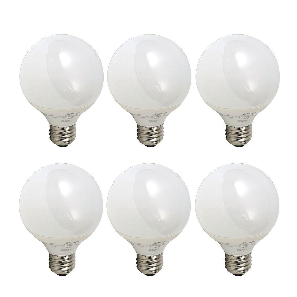 Philips 9W CFL G25 Globe, Soft White - Case of 6 Bulbs