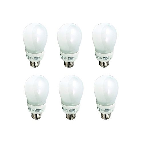 9W CFL A19  Household, Soft White - Case of 6 Bulbs