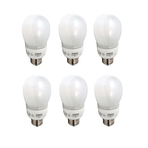 14W CFL Inch A19Inch  Household,  Soft White - Case of 6 Bulbs
