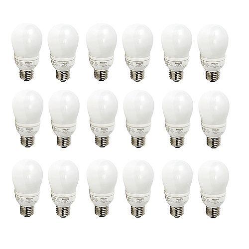 9W = 40W Household Soft White (2700K) A19 CFL Light Bulb (18-Pack)