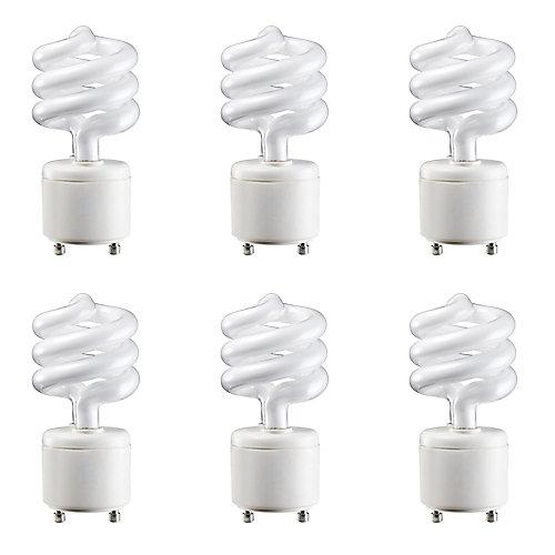 13W=60W Soft White  GU24 Mini Twister Compact Fluorescent Light Bulb (6-pack)
