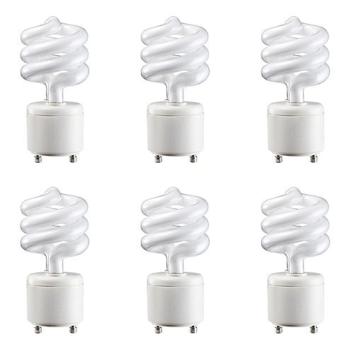 13W=60W Soft White  GU24 Mini Twister Compact Fluorescent Light Bulb (6-pack)
