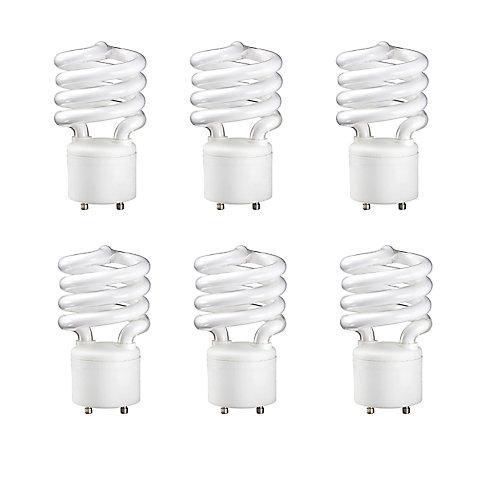 23W = 100W Soft White (2700K) Mini Twister FU24 CFL Light Bulb (6-Pack)