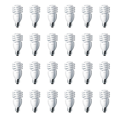 13W = 60W Daylight (6500K) Mini Twister CFL Light Bulb (24-Pack)