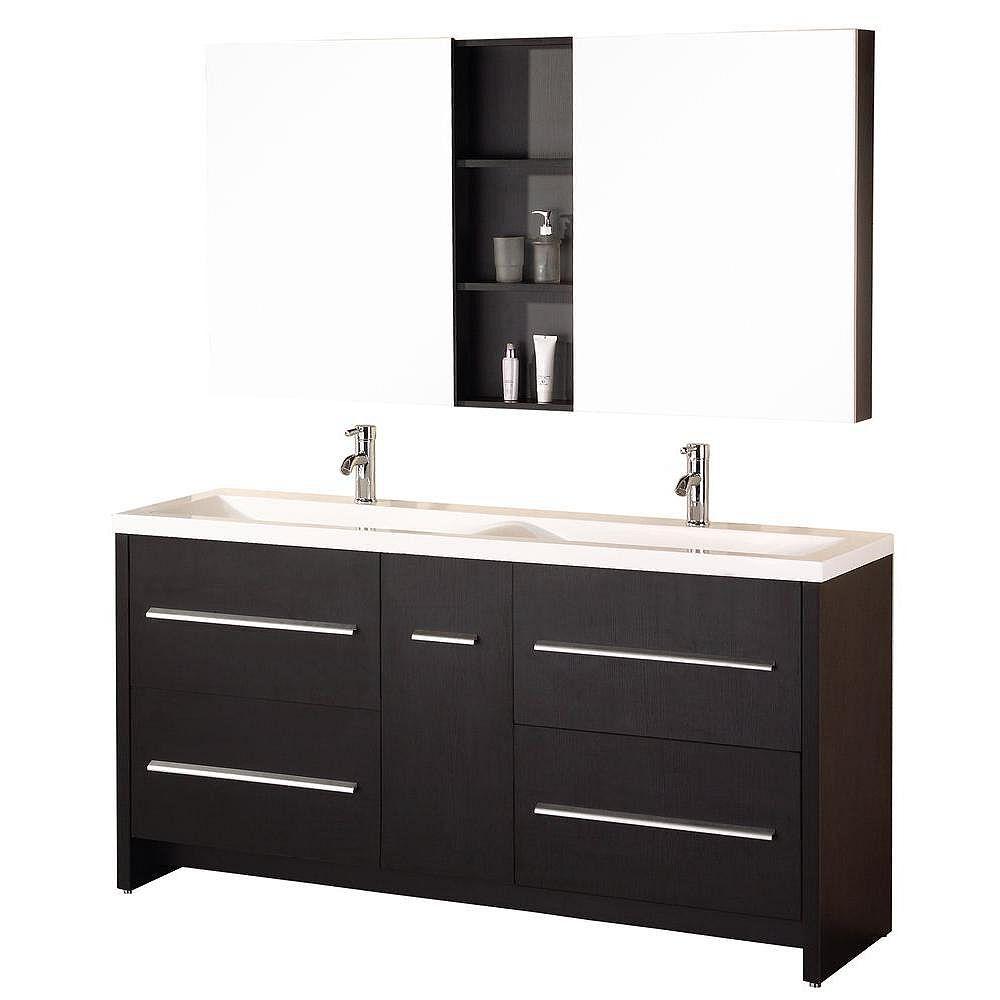 Design Element Meuble Double Vasque Perfecta de 63 po (Robinet non inclus)