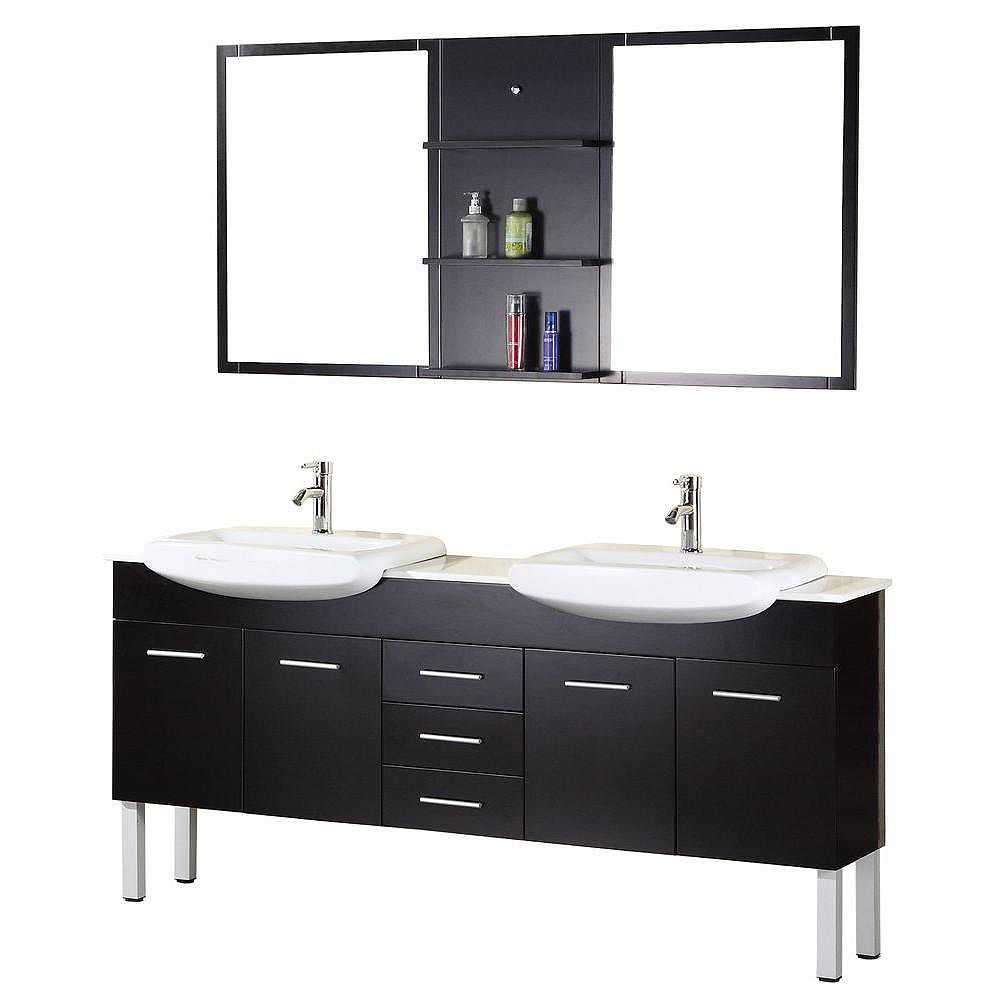 Design Element Tustin 72 Inches Vanity in Espresso with Composite Stone Vanity Top in White and Mirror (Faucet not included)