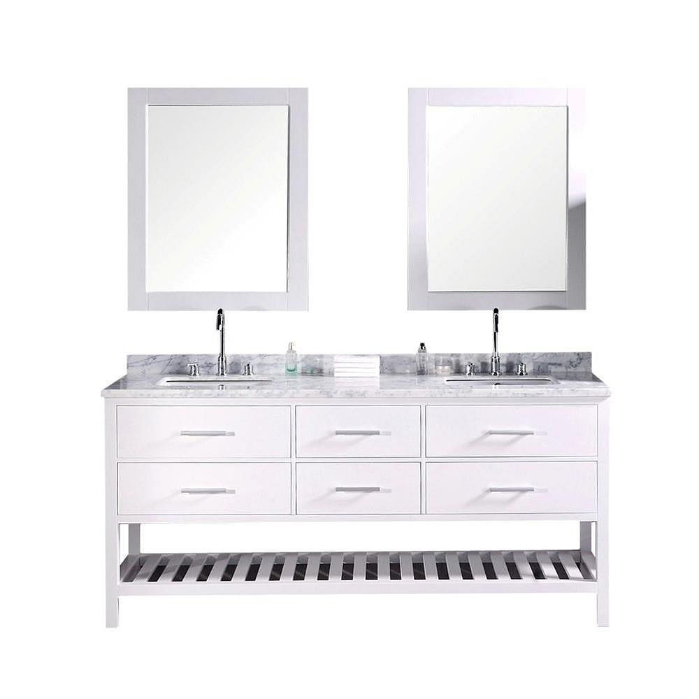 Design Element Meuble Double Vasque London de 72 po (Robinet non inclus)