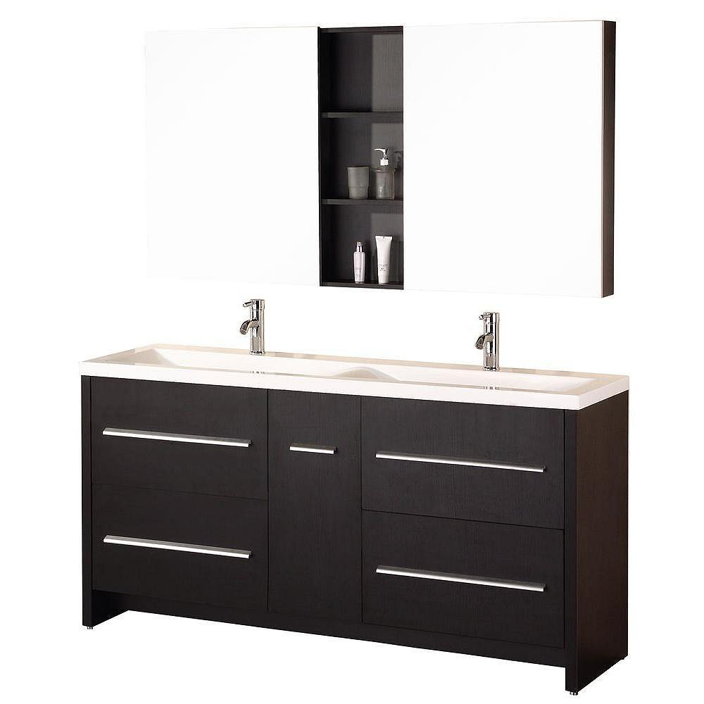 Design Element Perfecta 72-inch W Vanity in Brown