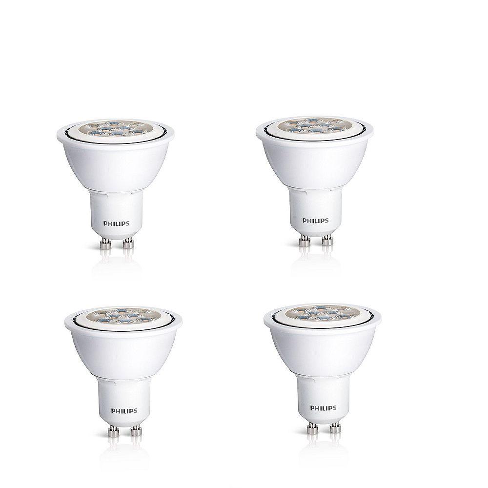 Philips GU10 DEL à faisceau large d'intérieur 4.5W = 50W (3000K) - Cas de 4 Ampoules- ENERGY STAR®