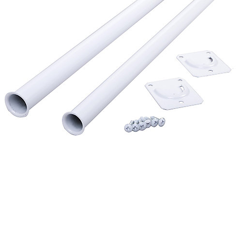 72-inch to 96-inch Adjustable Closet Rod in White