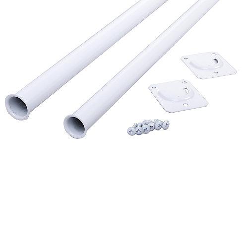 Tringle de penderie réglable, 48po à 72po, blanc