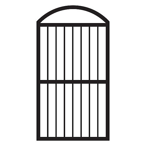 36-inch W x 67 3/4-inch H Arched Aluminum Fence Gate in Black