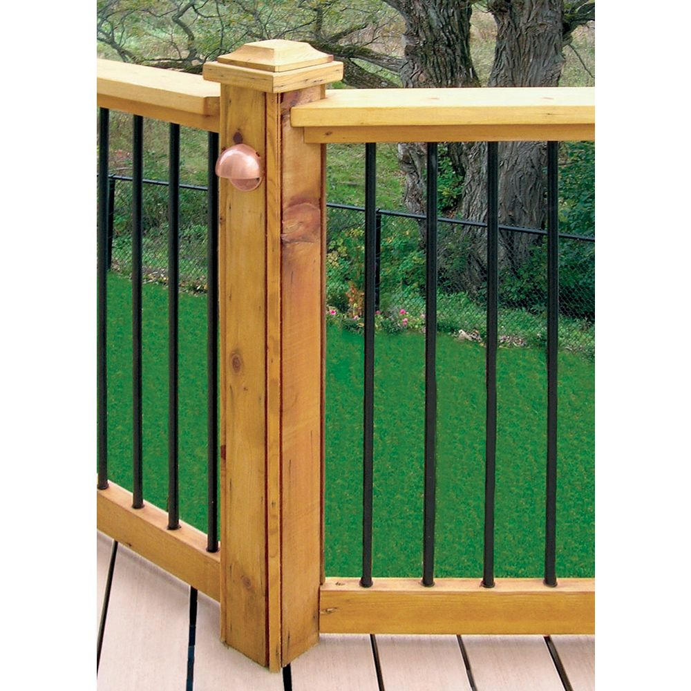 Veranda 6 ft. W Aluminum Deck Rail Kit with 34-inch L x 3/4-inch D Round Balusters in Black (15-Piece)