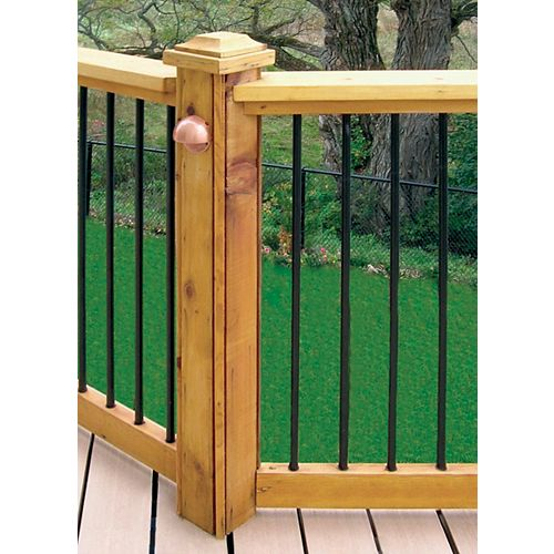 6 ft. W Aluminum Deck Rail Kit with 34-inch L x 3/4-inch D Round Balusters in Black (15-Piece)