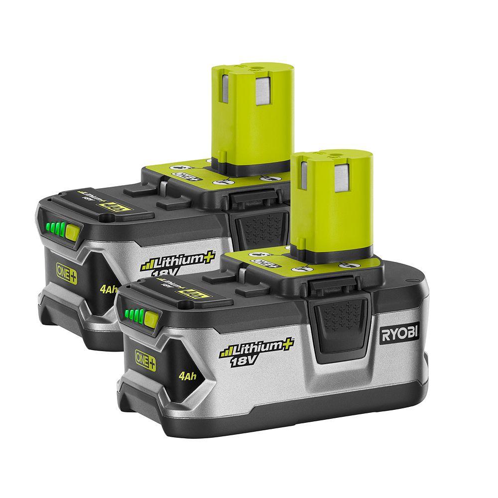 RYOBI 18V ONE+ High Capacity 4.0 Ah Battery (2-Pack)